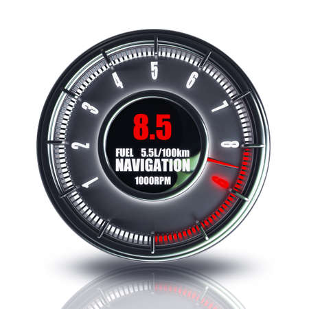 odometer: tachometer isolated on white background High resolution 3d