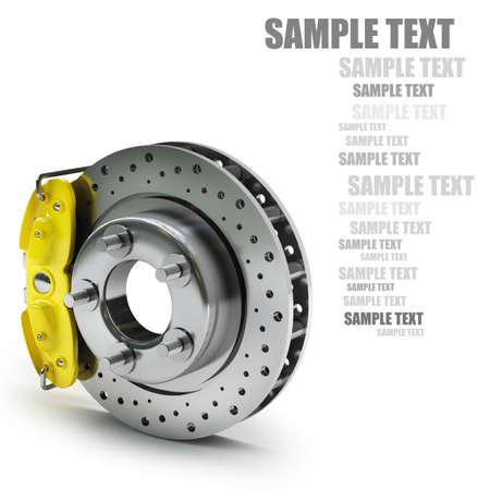 Disque de frein avec un support jaune. isolé sur fond blanc haute résolution 3D Banque d'images - 24042861