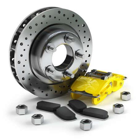 레이싱 카에서 노란색 캘리퍼스와 분해 브레이크 디스크는 흰색 배경 고해상도 3D에 고립 스톡 콘텐츠