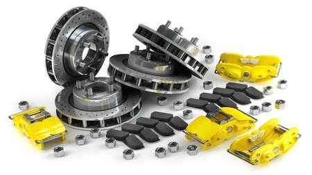 Démonté disque de frein avec étrier jaune d'une voiture de course isolée sur fond blanc haute résolution 3D Banque d'images - 24042865
