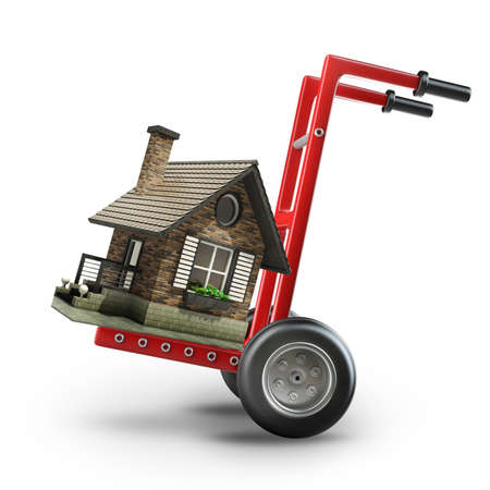 Concept. Red wheelbarrow with for sale house isolated on white background High resolution 3d  photo