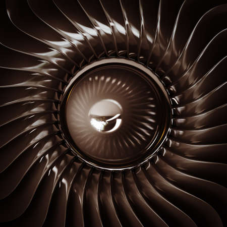 aluminum airplane: close up Jet engine front view isolated on black background. High resolution. 3D image  Stock Photo