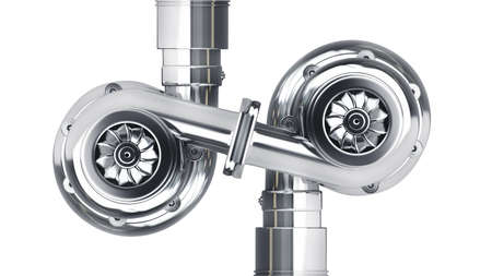 turbocharger: Steel turbocharger isolated on white background High resolution 3d  Stock Photo