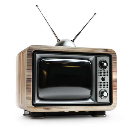 television aerial: TV in wooden vintage case isolated on white background High resolution 3d  Stock Photo