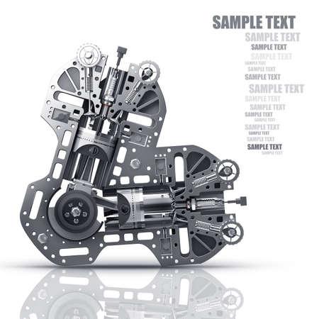 Moteur V8 de voiture isolé sur fond blanc. Concept de voiture moderne. 3D haute résolution Banque d'images - 24042895