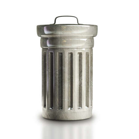 Steel trash can isolated on white background High resolution 3d