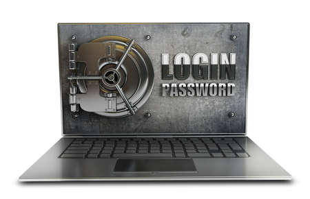 Abstract laptop safe (concept) isolated on white background High resolution 3d  photo