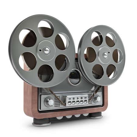 tape recorder: Carrete grabadora analógica de carrete. caso de madera de la vendimia. aislado en el fondo blanco de alta resolución en 3D