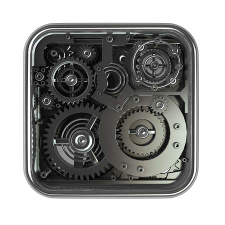 3D gears box. Work concept.  isolated on white background High resolution 3d  photo