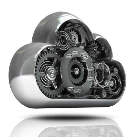 Nuage imetallic avec des engins isolé sur fond blanc haute résolution 3D Banque d'images - 24042977