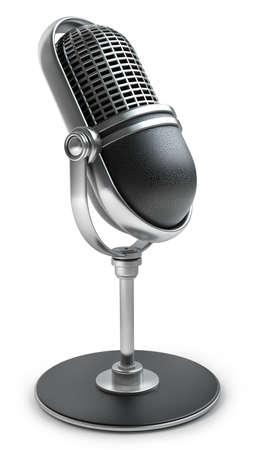 microfono de radio: Micrófono retro aislado en el fondo blanco de alta resolución en 3D