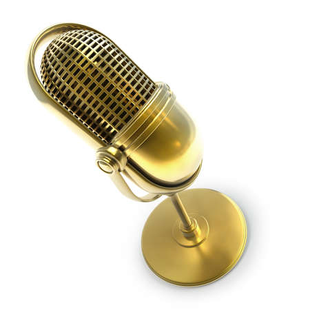 Gold collection. Retro microphone isolated on white background High resolution 3d  photo