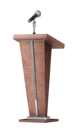 tribuna de madera con el micr�fono aislado en el fondo blanco de alta resoluci�n en 3D Foto de archivo