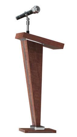 houten tribune met microfoon geïsoleerd op witte achtergrond Hoge resolutie 3D Stockfoto
