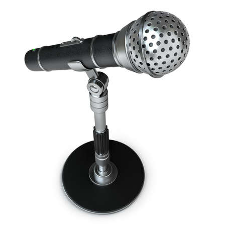 amplification: Microphone isolated on white background High resolution 3d