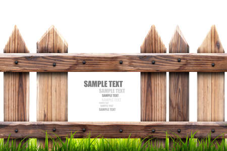 white picket fence: wooden fence with green grass isolated on white background High resolution 3d  Stock Photo