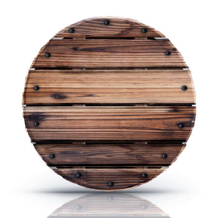 Round shield from wood isolated on white background High resolution 3d  photo