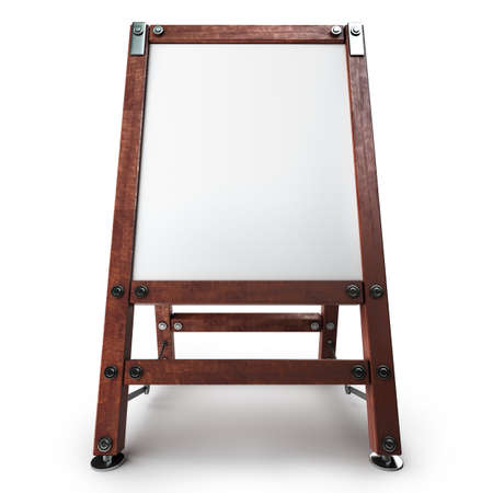 Blank Canvas on easel isolated on white background High resolution 3d  photo