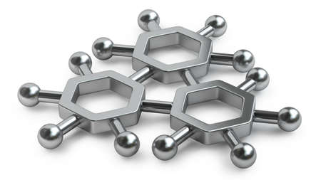 3D rendered silver glossy molecules structure isolated on white background High resolution  photo