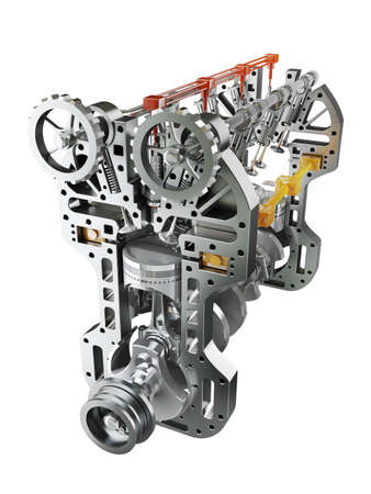 Automotor die op witte achtergrond Hoge resolutie 3D Stockfoto