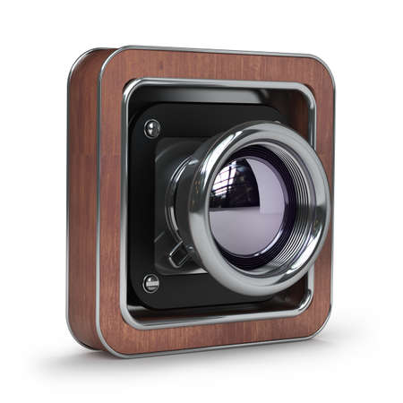 Classic Retro Camera in Wooden case isolated on white background High resolution 3d  photo