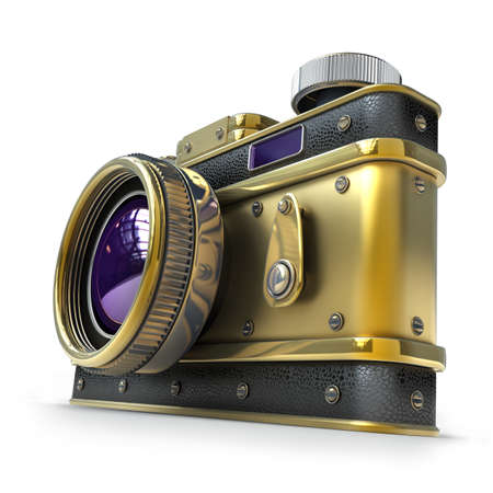 Vintage golden photo camera isolated on white background High resolution 3d  photo