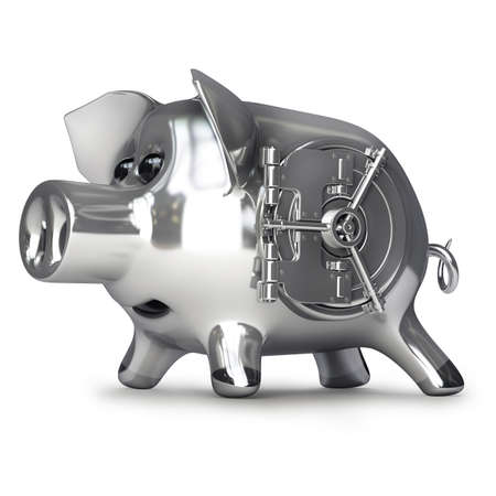steel Piggy bank with vault door isolated on white background High resolution 3d  photo