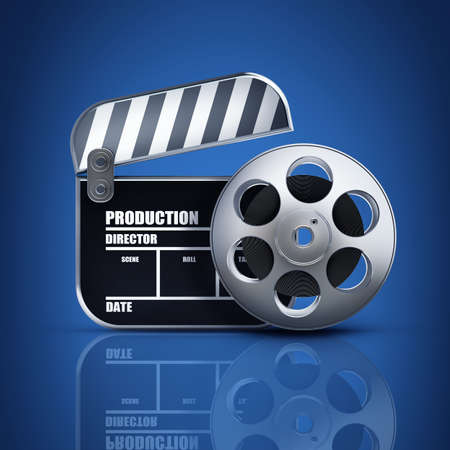 Clap board and Film roll. movies symbol closeup. High resolution. 3D image