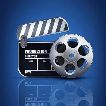 Clap board en broodje van de film. films symbool close-up. Hoge resolutie. 3D-beeld
