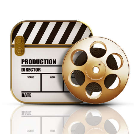 Golden Clap board and Film roll. movies symbol closeup isolated on white background High resolution 3d photo