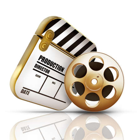 film editing: Golden Clap board and Film roll. movies symbol closeup isolated on white background High resolution 3d Stock Photo