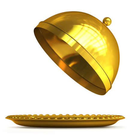 Gold collection. open empty platter or cloche with space to place object isolated on white background High resolution 3d  photo