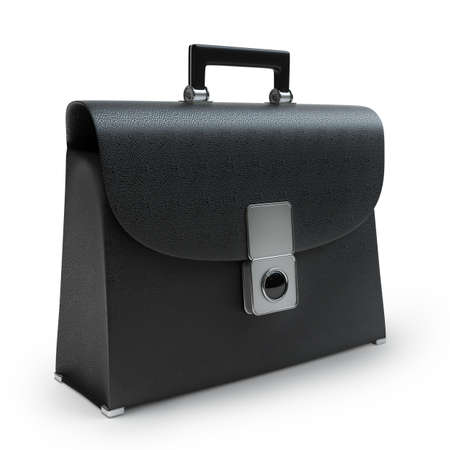brief case: Black leather briefcase isolated on white background High resolution 3d