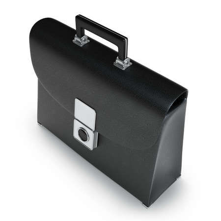 Black leather briefcase isolated on white background High resolution 3d  photo