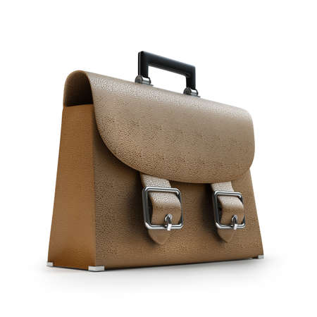 Brown leather briefcase isolated on white background High resolution 3d  photo