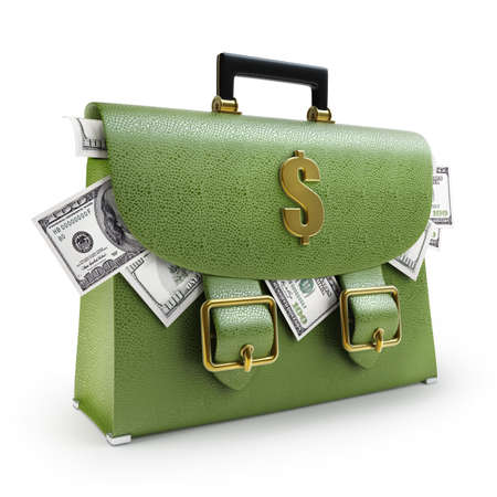 Green leather briefcase with dollars isolated on white background High resolution 3d  photo