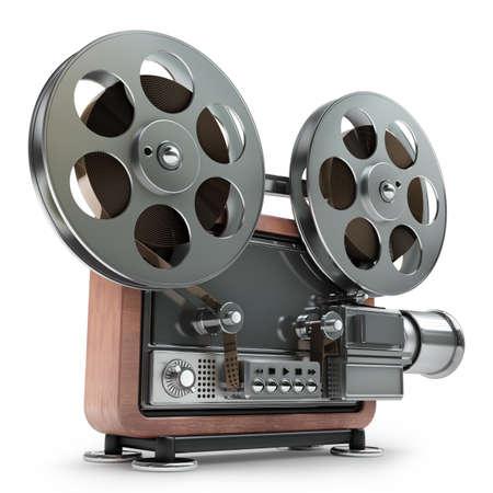 3 d ホワイト バック グラウンド高解像度に分離された旧式のシネマ ・ プロジェクター 写真素材