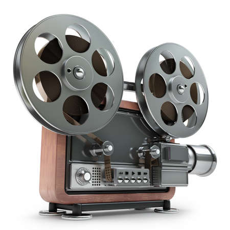 movie projector: old-fashioned cinema projector isolated on white background High resolution 3d