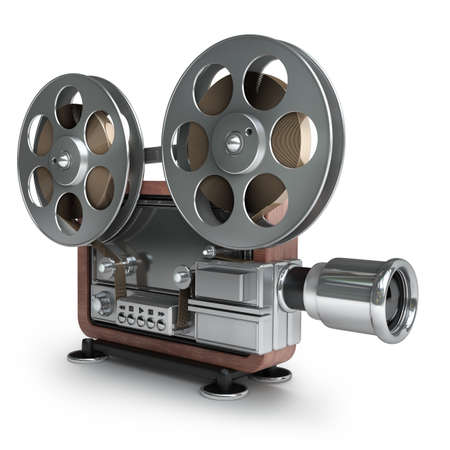 high beams: old-fashioned cinema projector isolated on white background High resolution 3d