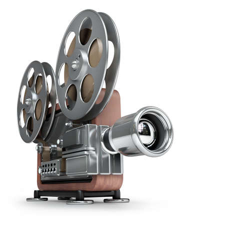 film projector: old-fashioned cinema projector isolated on white background High resolution 3d