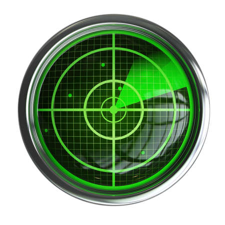 Radar screen isolated on white background High resolution 3d  photo