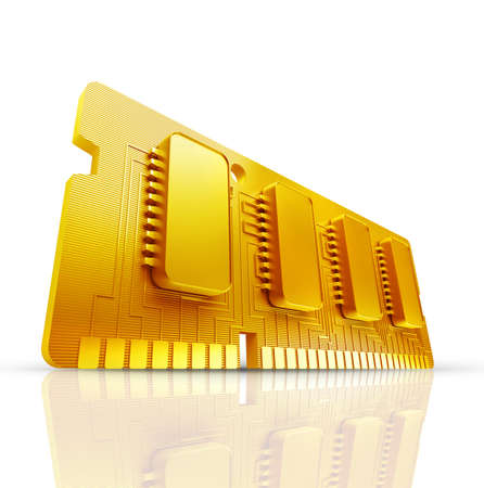 Gold collection. Computer RAM Memory Card 64gb isolated on white background High resolution 3d  photo