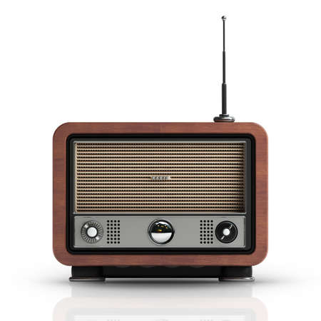 radio in wooden Vintage caseisolated on white background High resolution 3d  photo