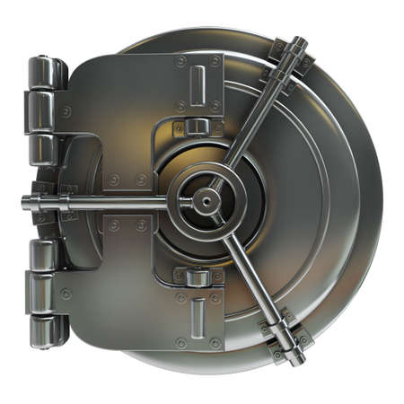 bank vault door isolated on white background High resolution 3d  photo