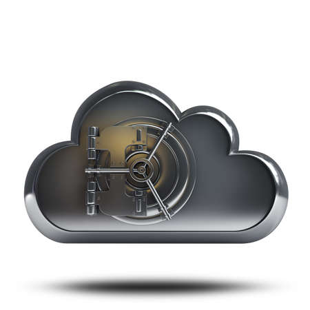 high resolution: 3d metal cloud with a door from the safe isolated on white background High resolution  Stock Photo