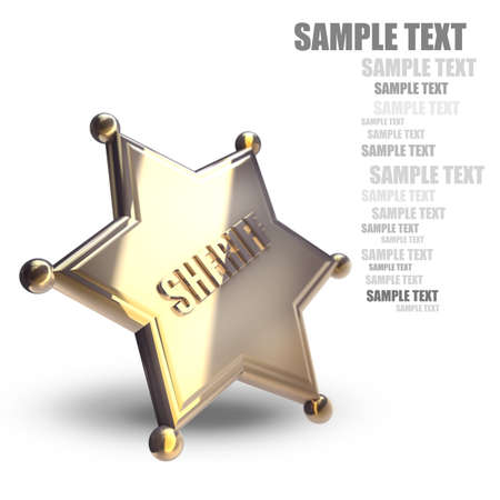 deputy: Golden Sheriff Star isolated on white background High resolution 3d  Stock Photo