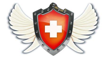 shield wings: Shield depicting protection with wings isolated on white background High resolution 3d