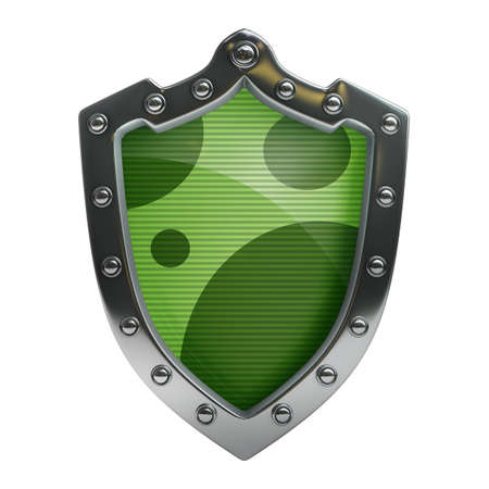 Shield depicting protection isolated on white background High resolution 3d  photo