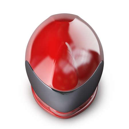 casco moto: Casco de moto de color rojo aisladas sobre fondo blanco 3d de alta resolución Foto de archivo