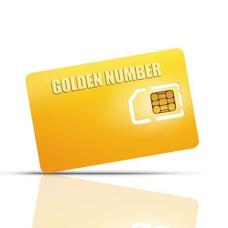 Gold collection. Blank sim card isolated on white background High resolution 3d  photo